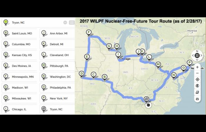 2017 Nuclear Free Future Tour route