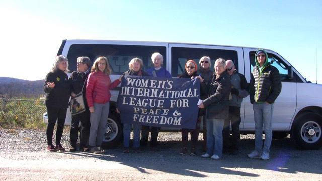 The WILPF Mobile and participants on the trip to view fracking sites